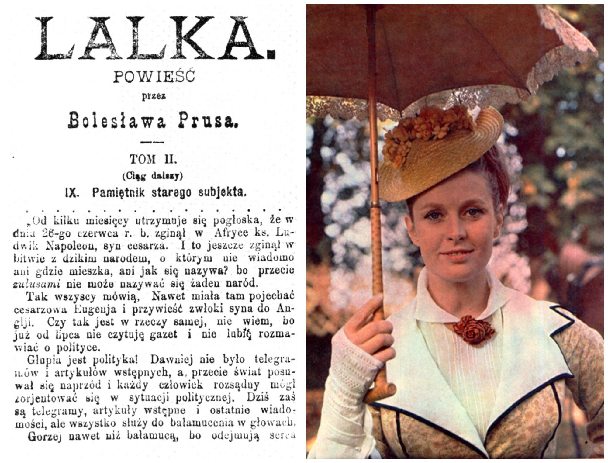 Z lewej pierwodruk Lalki w 'Kurierze Codziennym' z 1889 roku. Z prawej Beata Tyszkiewicz w roli Izabeli Łęckiej w filmie 'Lalka' Wojciecha Jerzego Hasa z 1968 r. (Wikimedia.org / Domena publiczna)