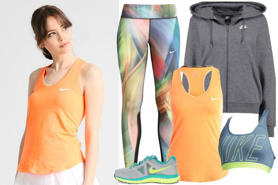 Pastelowe legginsy, kolorowy biustonosz sportowy, pomarańczowy top