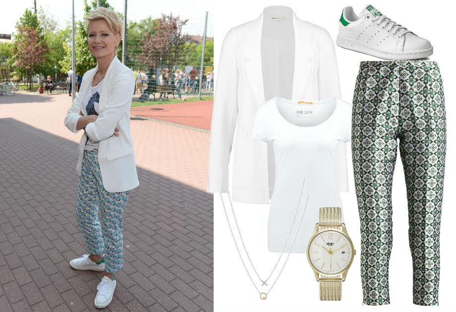 Małgorzata Kożuchowska w spodniach i adidasach