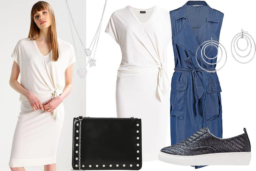Stylizacja biała sukienka / Kolaż / Materiały partnera