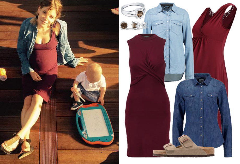 Maja Bohosiewicz w sukience ciążowej i jeansowej koszuli