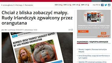 """TVP Info podała informację o rudym turyście, zgwałconym przez orangutana. To był """"fake news"""""""