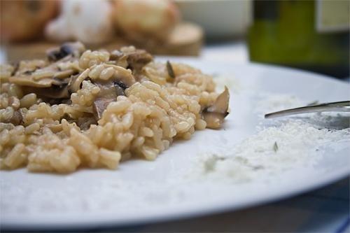 Kremowe risotto z grzybami i kaczką