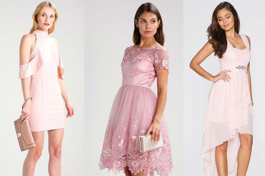 472a4614f0f43 Sukienka w kolorze pudrowego różu: pasuje blondynkom i brunetkom