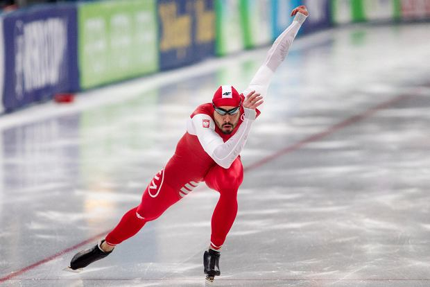 Artur Was from Poland in action to finish in third place during the World cup speed skating 500 m men event, Friday Nov. 17, 2017, in Stavanger, Norway. (Carina Johansen / NTB Scanpix via AP)