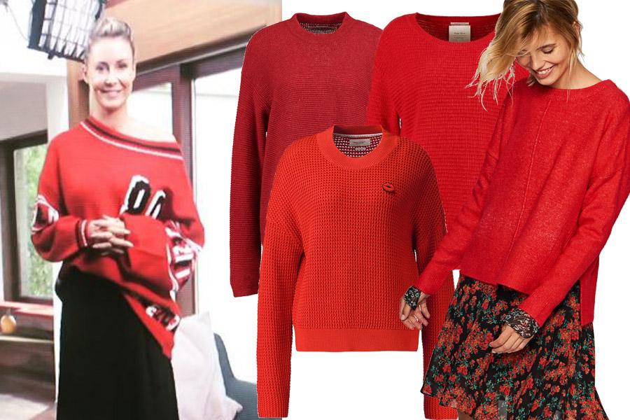 Kolaż, sweter czerwony/Materiały partnera/fot. www.instagram.com/m_rozenek/