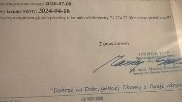 Przychodnia we Wrocławiu przełożyła pacjentce wizytę o... 4 lata