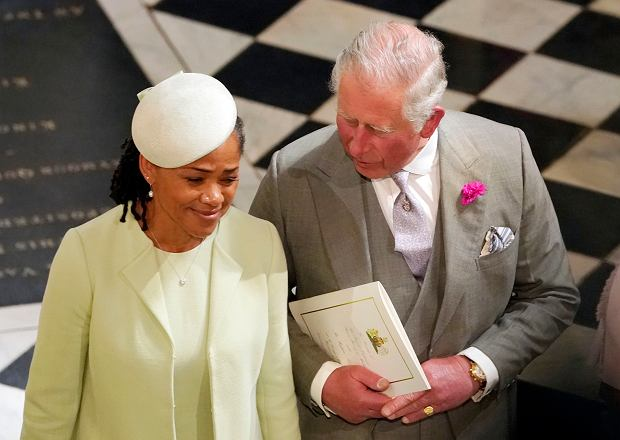 Britain's Prince Charles and Doria Ragland, mother of the bride, depart after the wedding ceremony of Prince Harry and Meghan Markle at St. George's Chapel in Windsor Castle in Windsor, near London, England, Saturday, May 19, 2018. (Owen Humphreys/pool photo via AP)