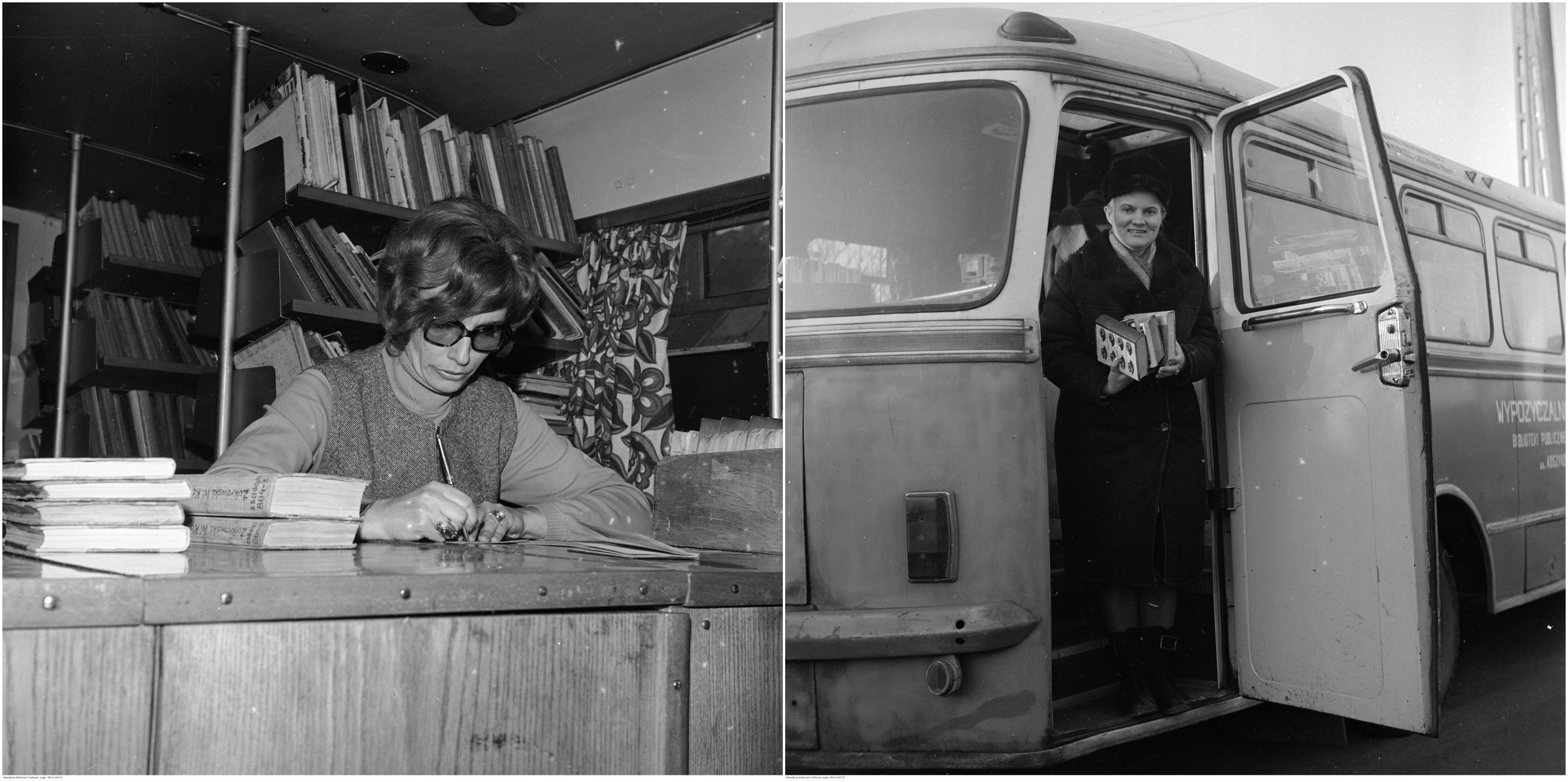 Bibliobus Biblioteki Publicznej w Warszawie, 1973 r. Po lewej kierowniczka Barbara Stępniewska we wnętrzu bibliobusu. Po prawej czytelniczka wysiada z bibliobusu - autobusu San H100 (fot. Archiwum Grażyny Rutowskiej / NAC)