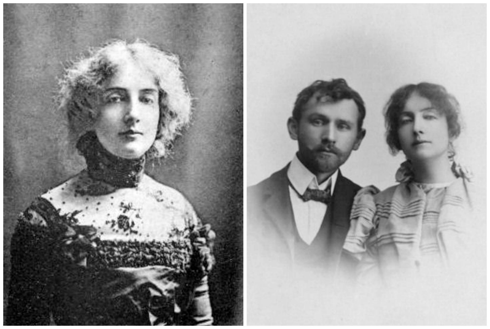 Po lewej Dagny Juel Przybyszewska w Sztokholmie, ok. 1895/96 r. Po prawej artystka z mężem, Stanisławem Przybyszewskim, około 1897 r. (fot. Wikimedia.org / Domena publiczna)