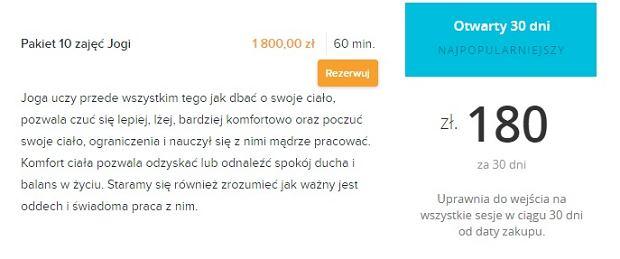 Cena pakietu jogi u Lewandowskiej vs w pracowni jogi w centrum Warszawy