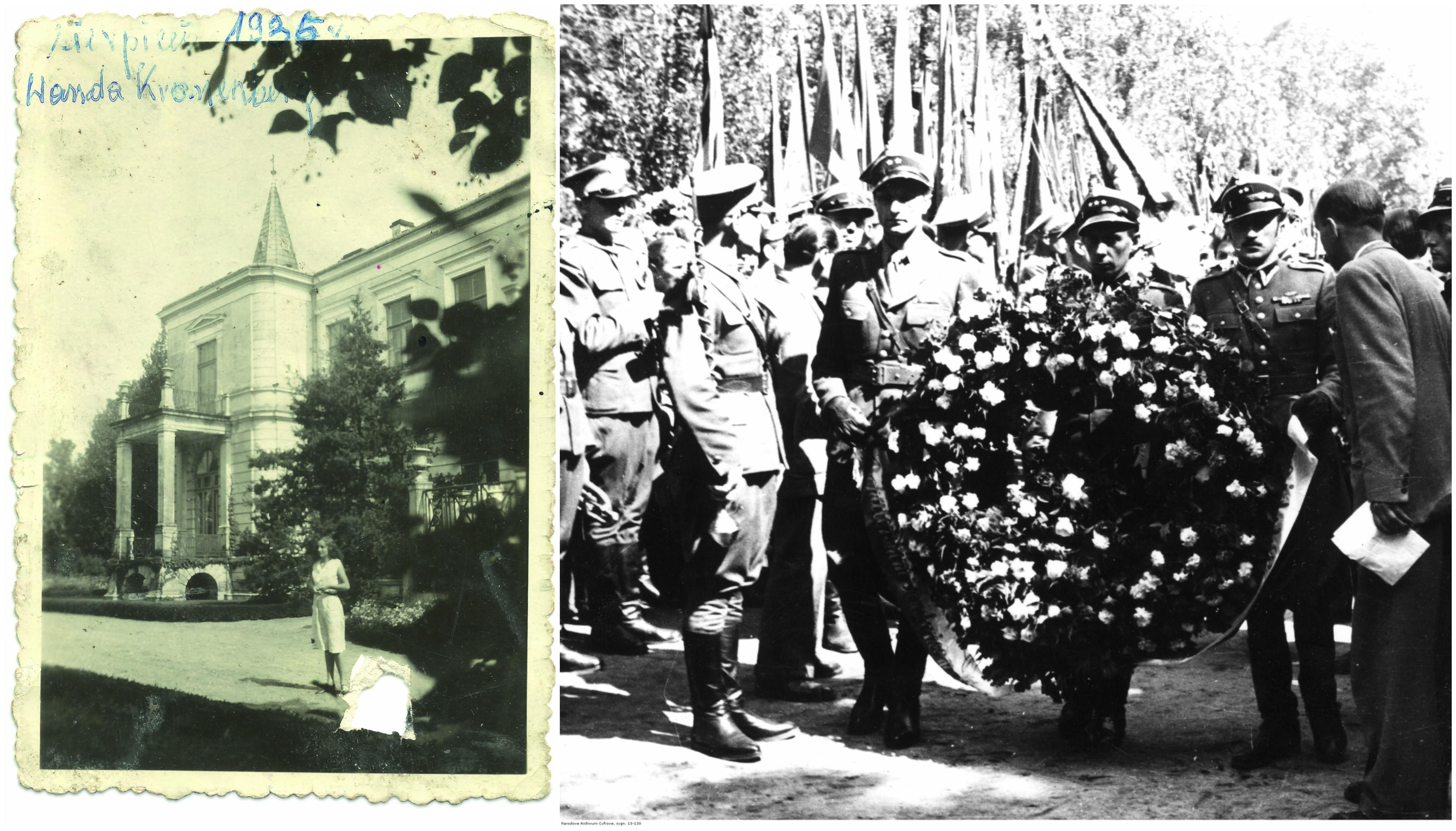 Z lewej Wanda Kronenberg w 1936 r. Z prawej Cmentarz Wojskowy na Powązkach - uroczystość poświęcenia pomnika pamięci żołnierzy AK. Składanie wieńca przez wojskowych (fot. materiały prasowe / Narodowe Archiwum Cyfrowe)