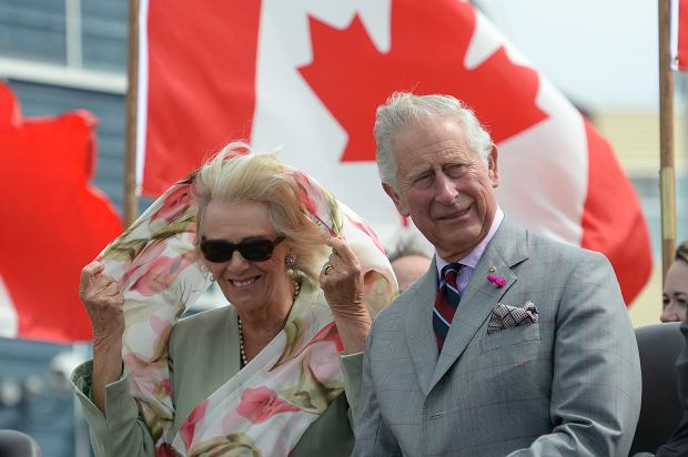 Prince Charles and Camilla, the Duchess of Cornwall, look on after arriving in Iqaluit, Nunavut, Canada Thursday, June 29, 2017. (Adrian Wyld/The Canadian Press via AP)