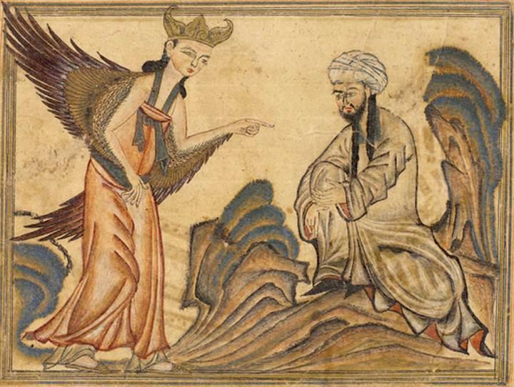 Mahomet otrzymuje pierwsze objawienie od archanioła Gabriela (fot. ilustracja z manuskryptu Rashida-al-Din Hamadaniego z ok. 1307 r.)