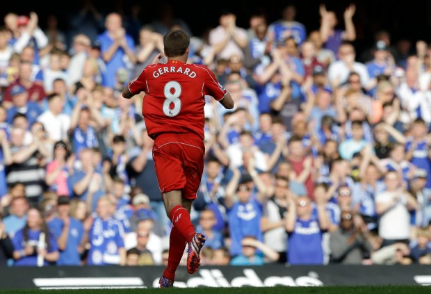 Liverpool's Steven Gerrard goes off the pitch as he is substituted during their English Premier League soccer match between Chelsea and Liverpool at Stamford Bridge stadium in London, Sunday, May 10,  2015. (AP Photo/Matt Dunham)
