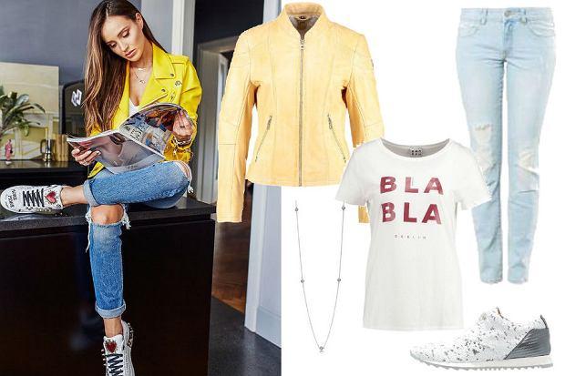 fot. Instagram @marina_official/ żółta ramoneska, niebieskie jeansy