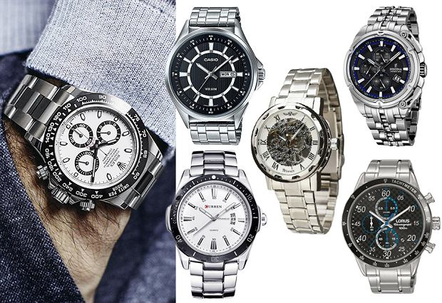 zegarki męskie, materiały partnera, kolaż, Pinterest