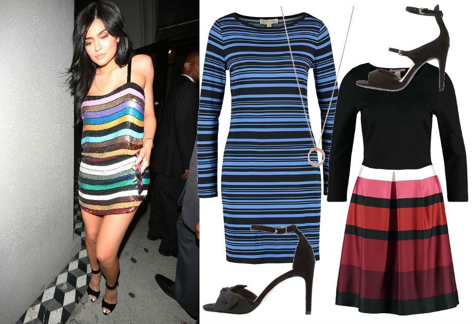 Kylie Jenner w sukience w paski