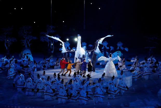 Children perform during the opening ceremony of the 2018 Winter Olympics in Pyeongchang, South Korea, Friday, Feb. 9, 2018. (AP Photo/Julie Jacobson) SLOWA KLUCZOWE: 2018 Pyeongchang Olympic Games;Winter Olympic games;Sports;Events;XXIII Olympiad