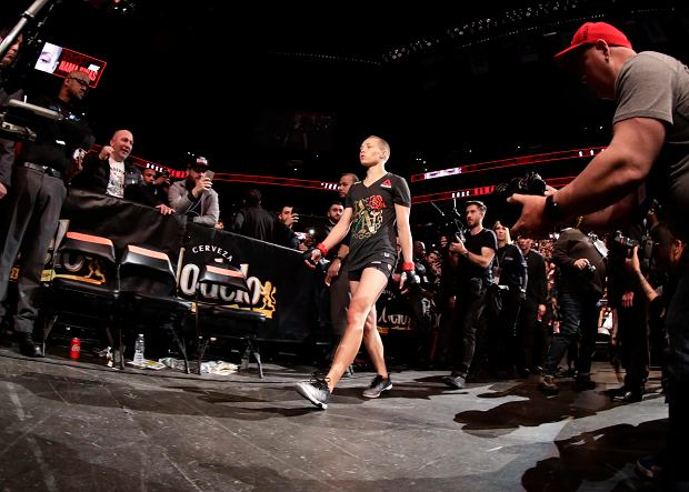 Rose Namajunas arrives for a women's strawweight title bout against Poland's Joanna Jedrzejczyk at UFC 223, Saturday, April 7, 2018, in New York. Namajunas won the bout. (AP Photo/Frank Franklin II)