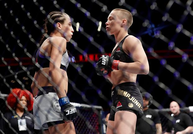 Poland's Joanna Jedrzejczyk, left, and Rose Namajunas wait for a women's strawweight title bout at UFC 223, Saturday, April 7, 2018, in New York. Namajunas won the fight. (AP Photo/Frank Franklin II)