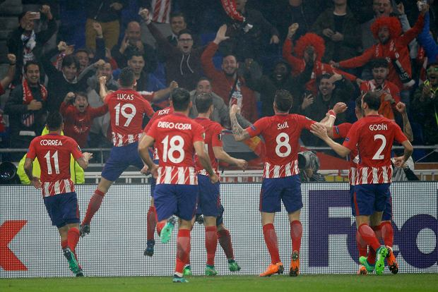 Atletico players celebrate scoring their side's second goal during the Europa League Final soccer match between Marseille and Atletico Madrid at the Stade de Lyon in Decines, outside Lyon, France, Wednesday, May 16, 2018. (AP Photo/Francois Mori) SLOWA KLUCZOWE: XEUROPALEAGUEX