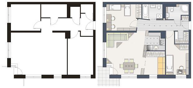 Mieszkanie dla 5-osobowej rodziny, wersja 1