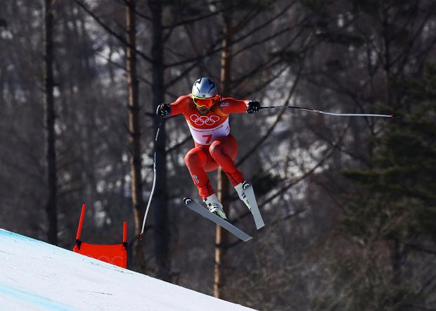 Norway's Aksel Lund Svindal skis during the men's downhill at the 2018 Winter Olympics in Jeongseon, South Korea, Thursday, Feb. 15, 2018. (AP Photo/Alessandro Trovati) SLOWA KLUCZOWE: 2018 Pyeongchang Olympic Games;Winter Olympic games;Sports;Events;XXIII Olympiad