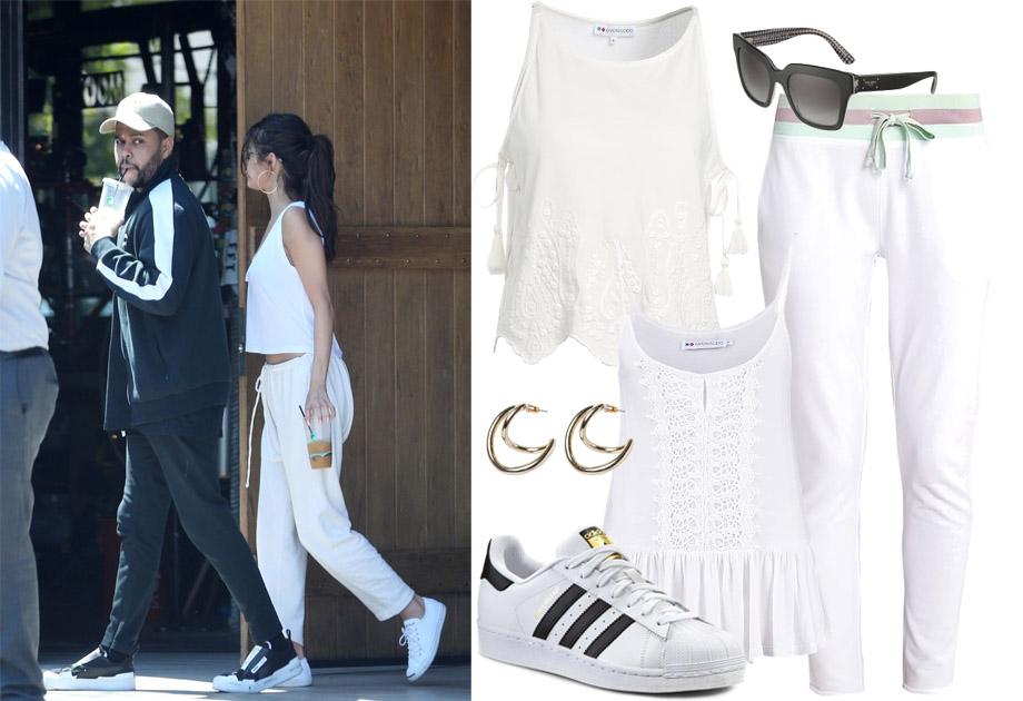 Selena Gomez w białych spodniach i topie