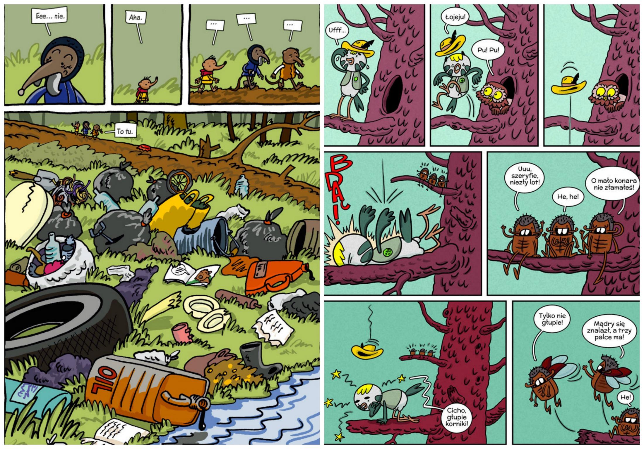 Po lewej ilustracja z komiksu 'Ryjówka przeznaczenia', po prawej fragment 'Umarłego lasu' (fot. materiały prasowe)