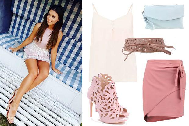 fot. Instagram @klaudiahalejcio/ różowa spódnica i niebieska kopertówka