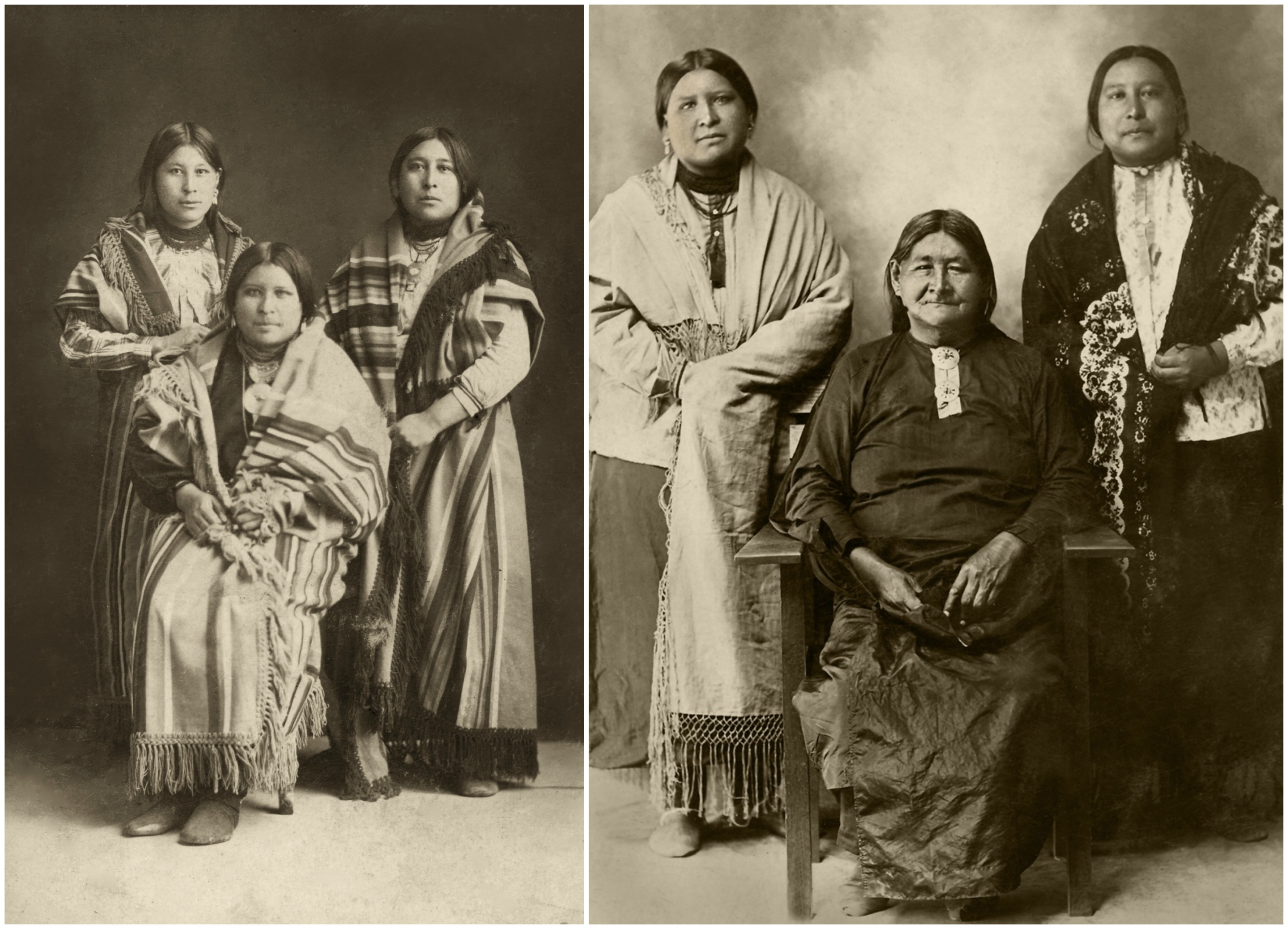 Na zdjęciu po lewej trzy siostry, od lewej kolejno: Minnie, Anna i Mollie. Na zdjęciu po prawej Anna (po lewej) i Mollie (po prawej) i ich matka Lizzie (fot. Eastnews)