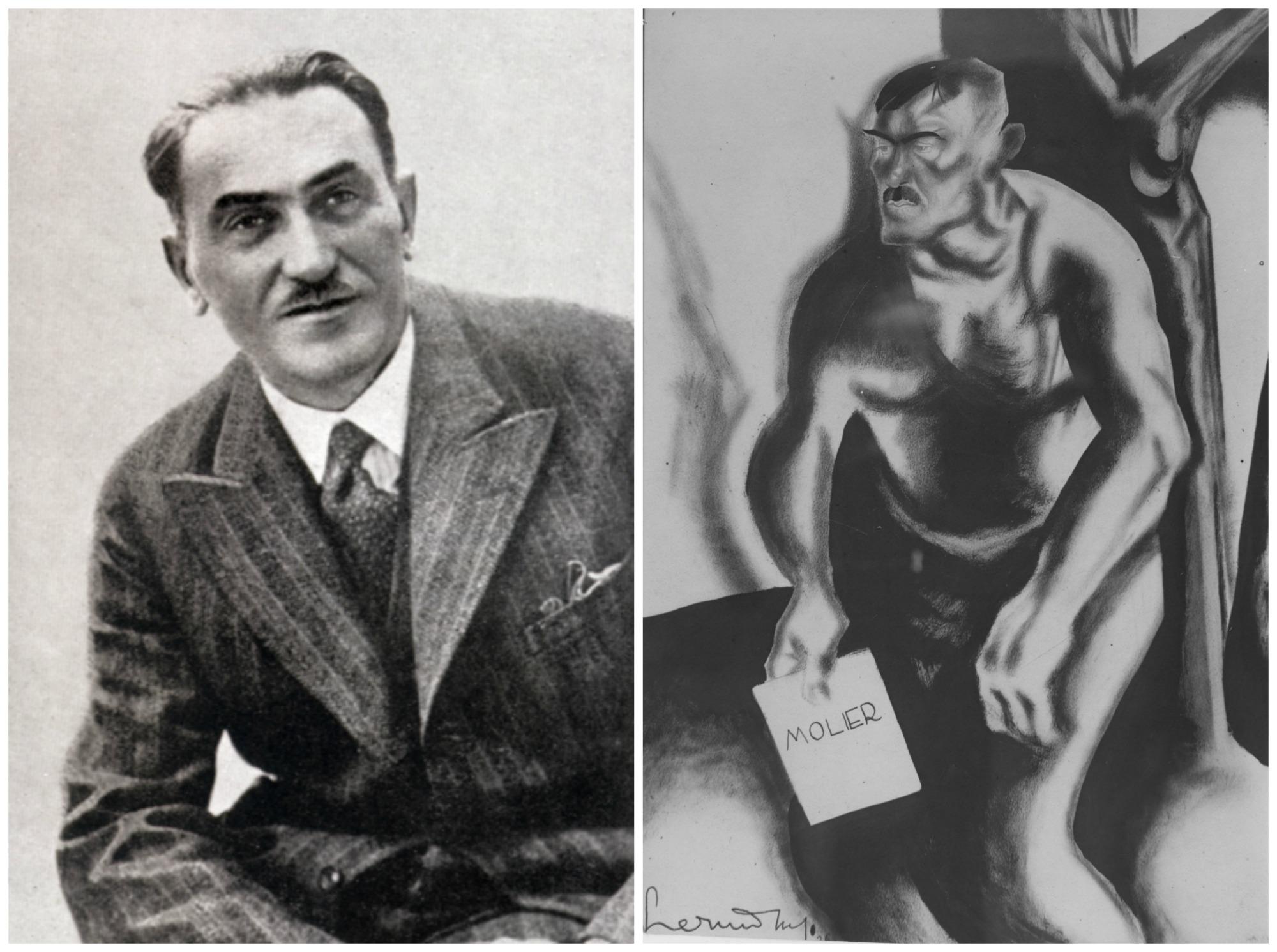Po lewej Tadeusz Boy-Żeleński w połowie lat 20. Po prawej karykatura pisarza wykonana przez artystę malarza Zdzisława Czermańskiego (fot. Wikimedia.org / Domena publiczna / Narodowe Archiwum Cyfrowe)
