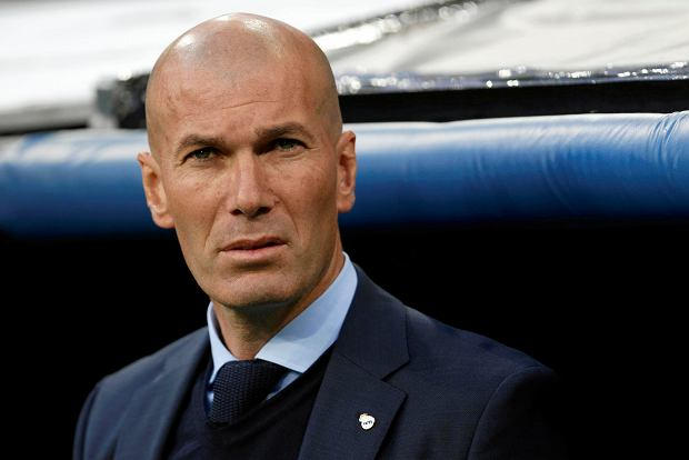 Real Madrid coach Zinedine Zidane arrives for the Champions League semifinal second leg soccer match between Real Madrid and FC Bayern Munich at the Santiago Bernabeu stadium in Madrid, Spain, Tuesday, May 1, 2018. (AP Photo/Francisco Seco) SLOWA KLUCZOWE: XCHAMPIONSLEAGUEX