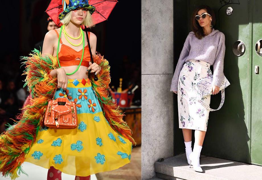 Spódnice w kwiaty - propozycje z wybiegów. Po lewej Moschino, po prawej Max Mara