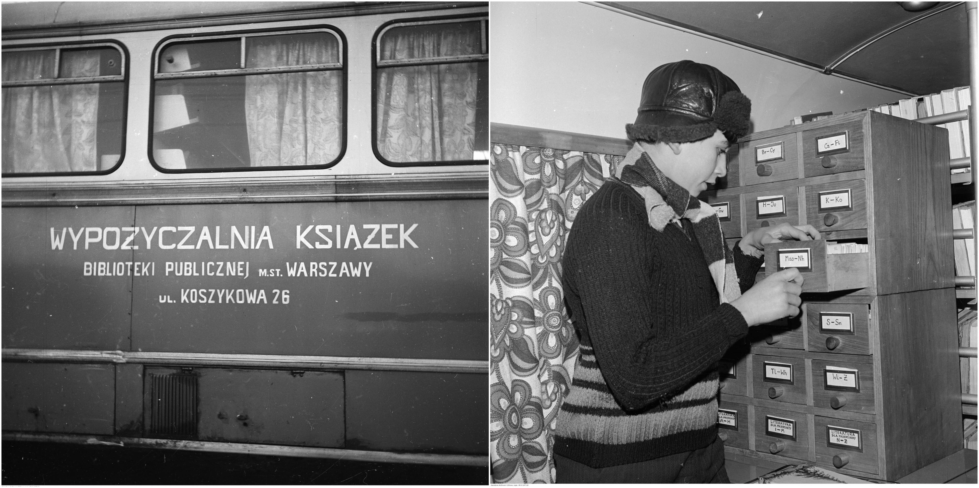 Bibliobus Biblioteki Publicznej w Warszawie, 1973 r. Po prawej czytelnik korzysta z katalogu we wnętrzu bibliobusu (fot. Archiwum Grażyny Rutowskiej / NAC)