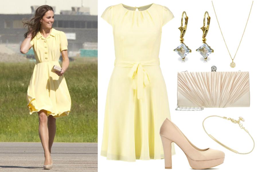 Księżna Kate w żółtej sukience / kolaż: mat. partnera / East News