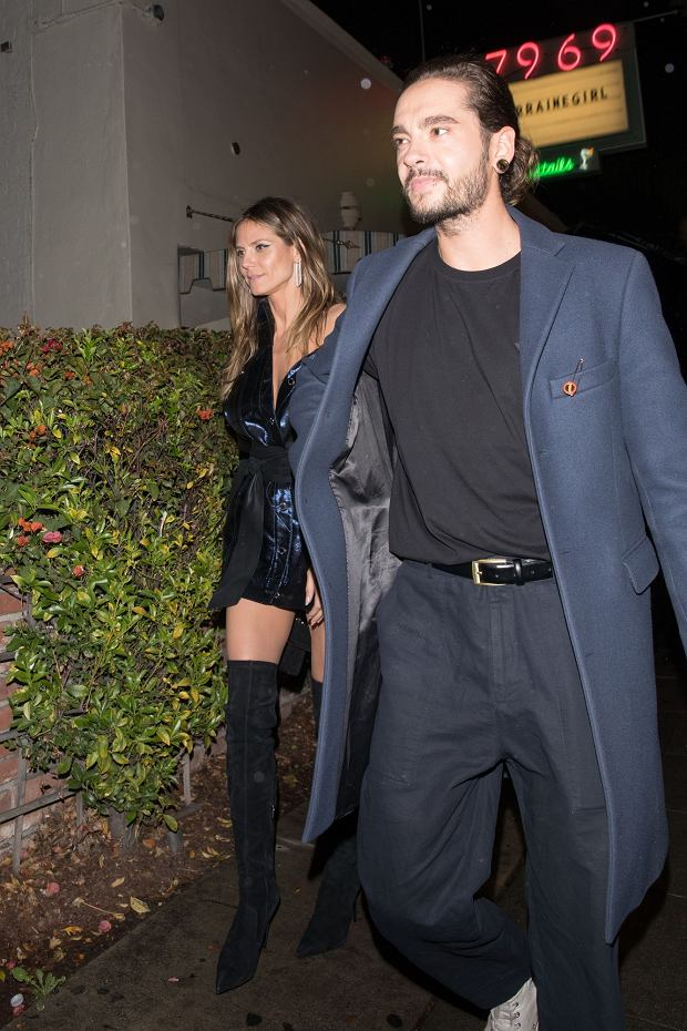 Heidi Klum is seen leaving with her new boyfriend Tom Kaulitz of Tokio Hotel at Delilah in West Hollywood   Pictured: Heidi Klum and Tom Kaulitz