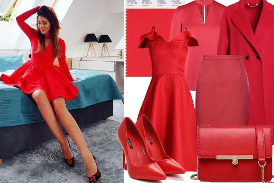Kolaż, kolor czerwony/Materiały partnera/fot. www.instagram.com/klaudiahalejcio/http://milanstyleguide.com/