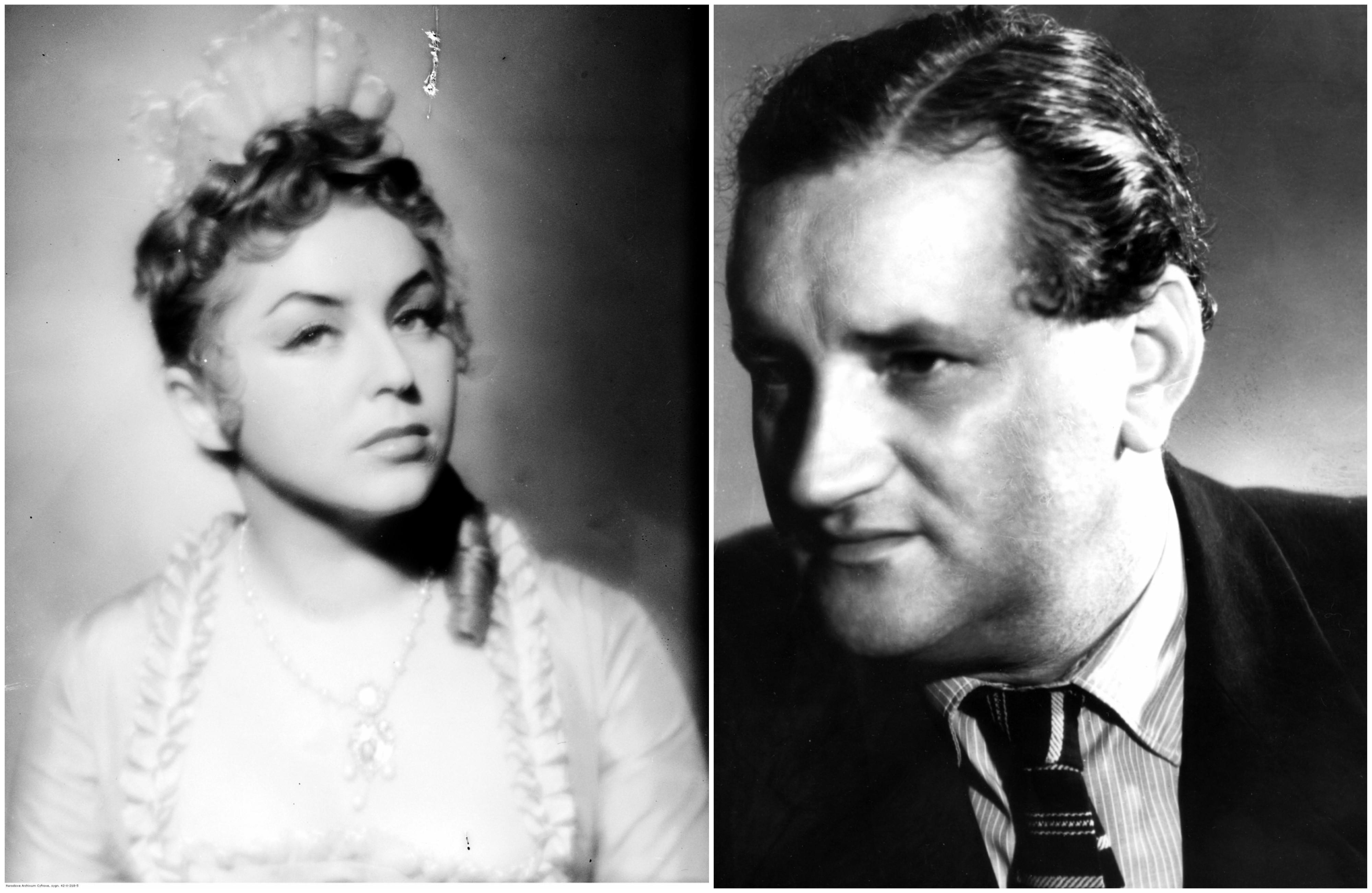 Z lewej Kalina Jędrusik w spektaklu 'Złote czasy zacnego króla Karola', 1957 r. Z prawej Stanisław Dygat sfotografowany w 1966 r. (fot. Narodowe Archiwum Cyfrowe)