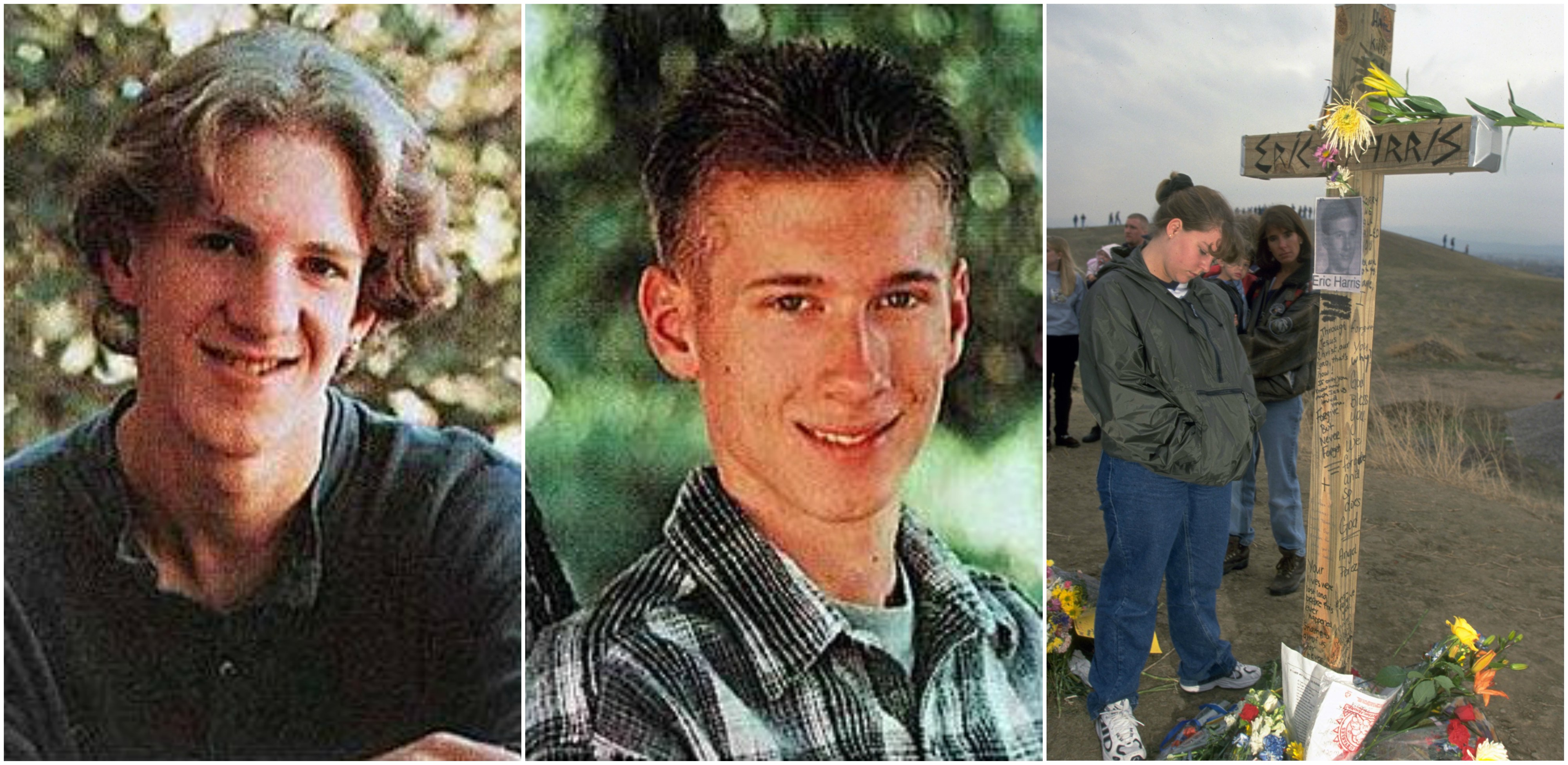 Od lewej: Dylan Klebold i Eric Harris. Po prawej miejsce upamiętniające ofiary obu nastolatków w Littleton w stanie Kolorado (fot. Wikimedia.org / Fair Use / Wikimedia.org / Fair Use / Eastnews)