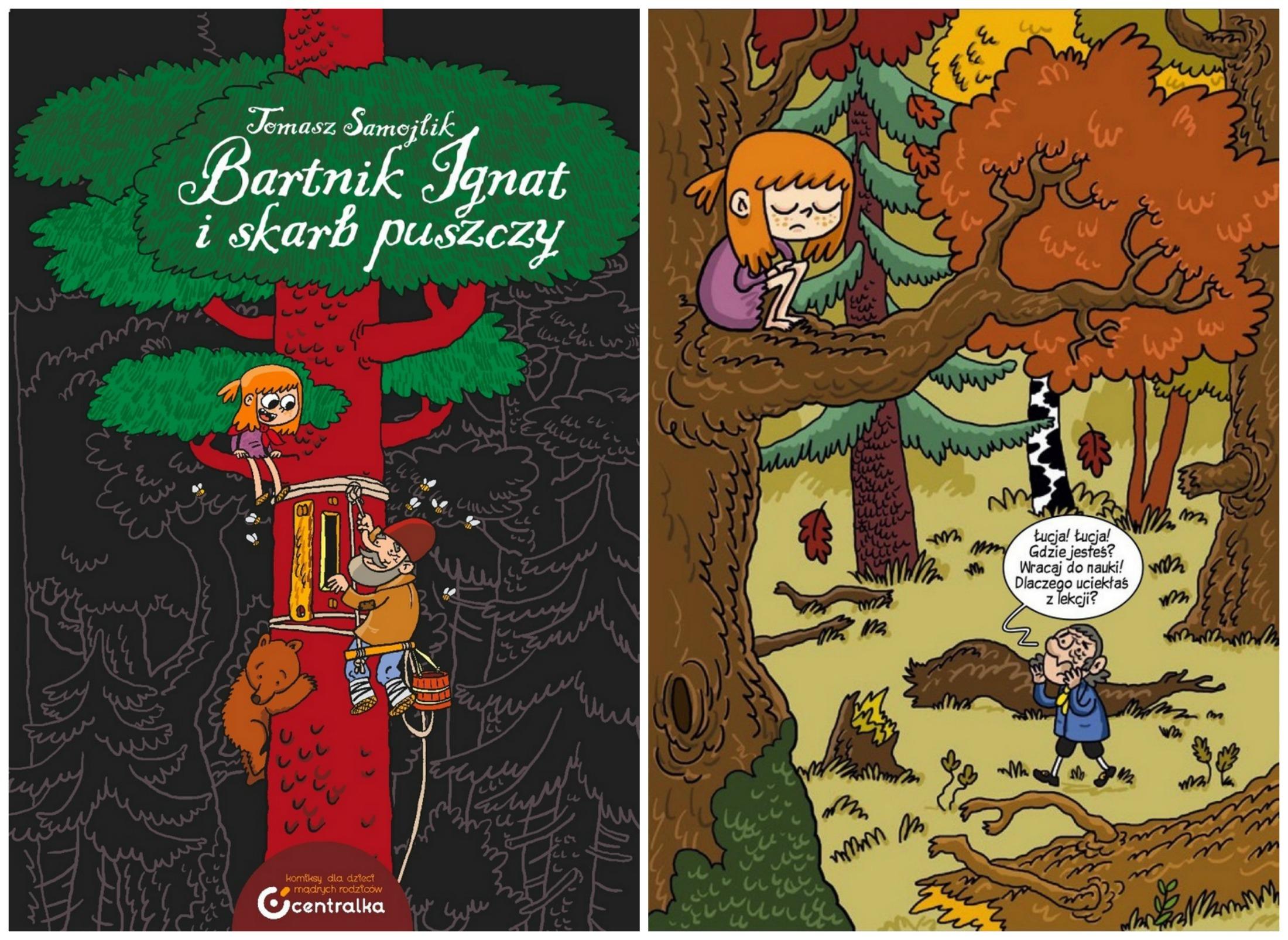 Okładka i fragment komiksu 'Bartnik Ignat i skarb Puszczy' (fot. materiały prasowe)