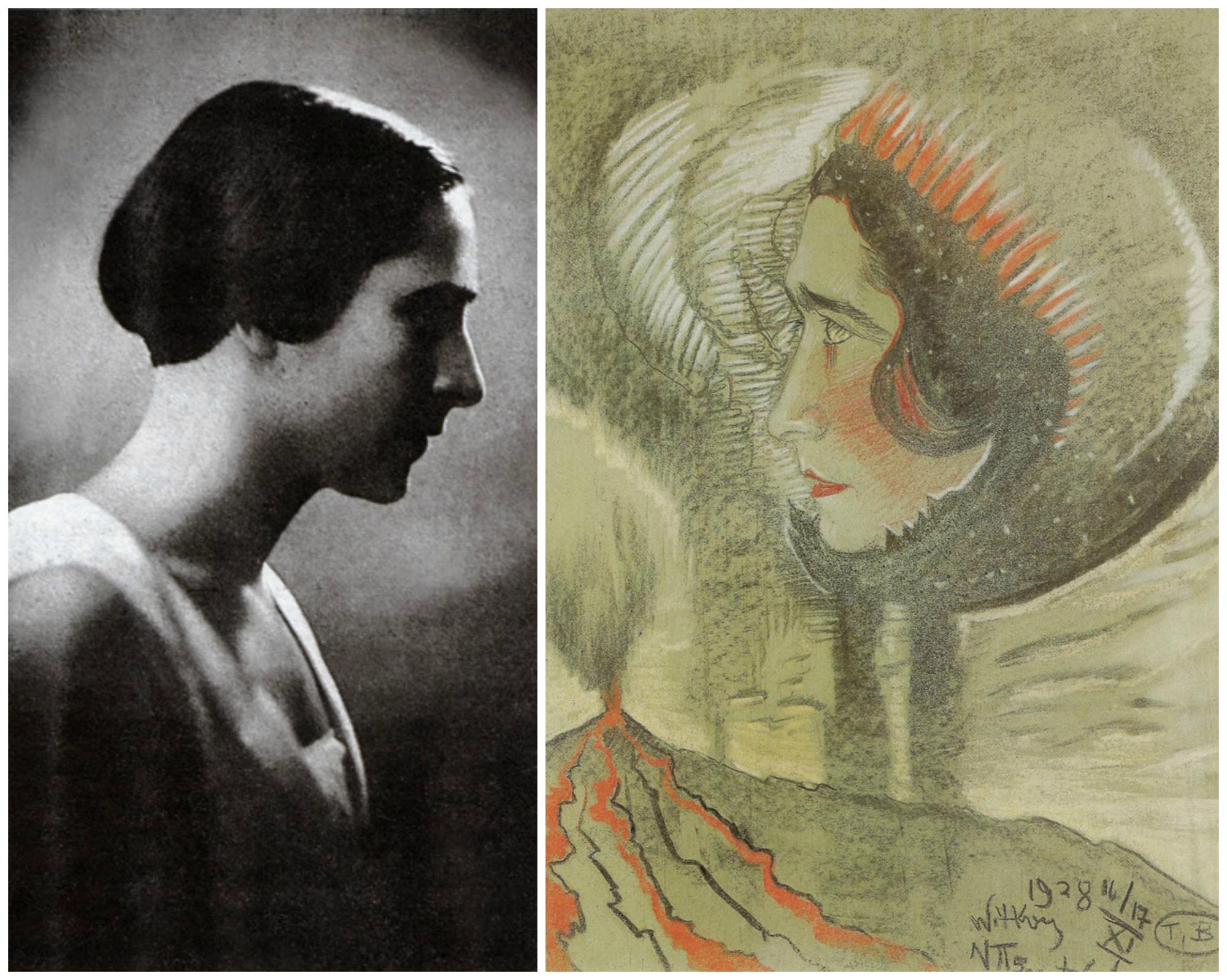 Z lewej Irena Krzywicka na fotografii z 1930 r. Z prawej na portrecie Witkacego z 1928 r. (fot. Wikimedia.org / Domena publiczna)