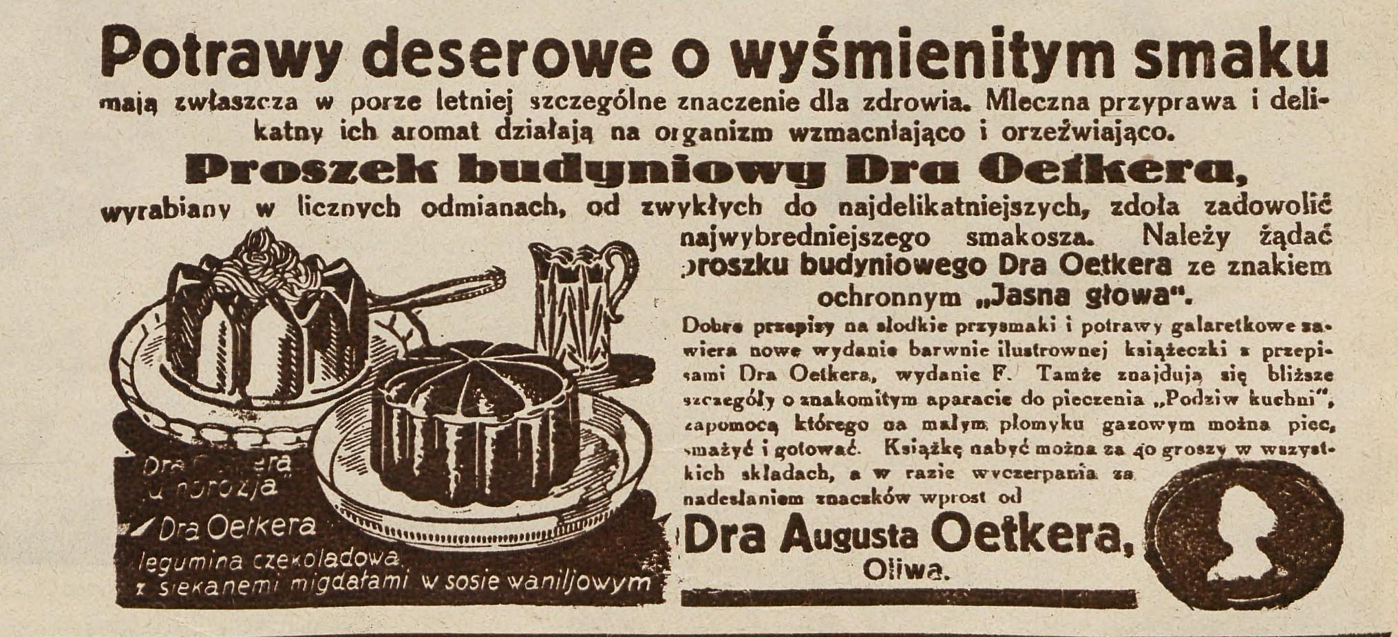 Przedwojenna reklama firmy dr Oetker (fot. materiały prasowe)