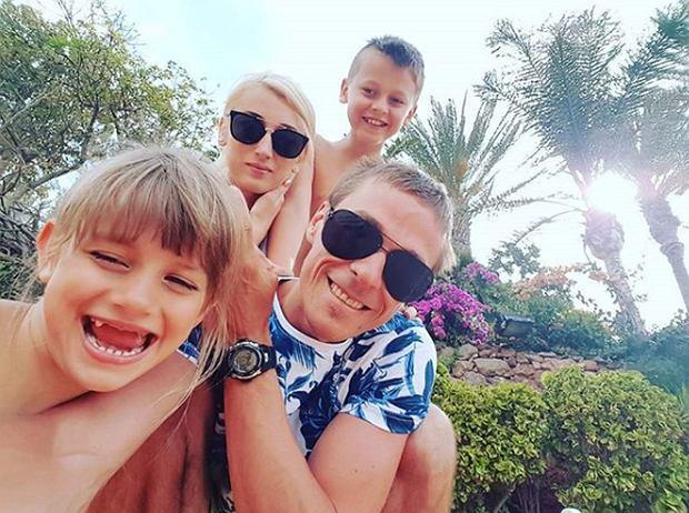 Justyna, Piotr Żyła z dziećmi