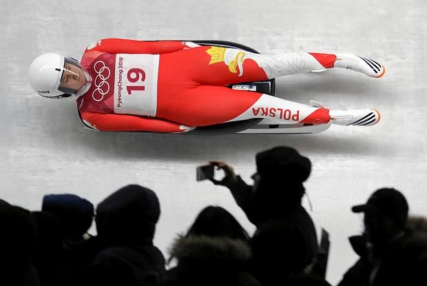 Natalia Wojtusciszyn of Poland competes in her first run during the women's luge competition at the 2018 Winter Olympics in Pyeongchang, South Korea, Monday, Feb. 12, 2018. (AP Photo/Michael Sohn) SLOWA KLUCZOWE: 2018 Pyeongchang Olympic Games;Winter Olympic games;Sports;Events;XXIII Olympiad