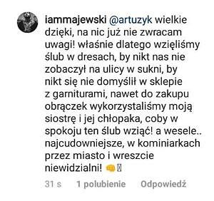 Komentarz Daniela Majewskiego dotyczący jego ślubu z Deynn