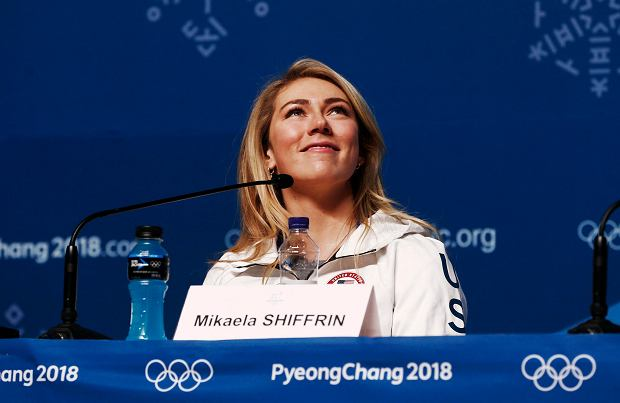 Alpine skier Mikaela Shiffrin, of the United States, speaks during a news conference at the 2018 Winter Olympics in Pyeongchang, South Korea, Saturday, Feb. 10, 2018. (AP Photo/Peter Morgan) SLOWA KLUCZOWE: 2018 Pyeongchang Olympic Games;Winter Olympic games;Sports;Events;XXIII Olympiad