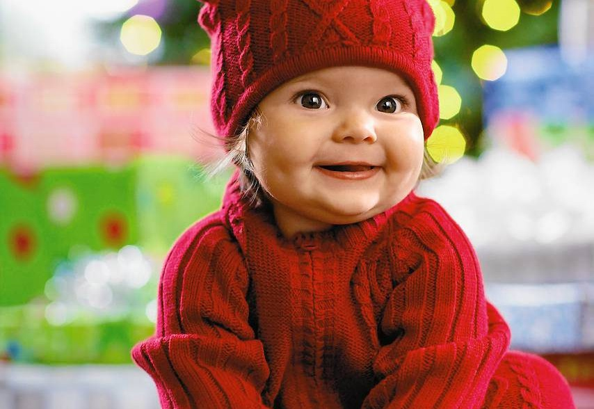 Baby Girl Wearing Christmas Clothes