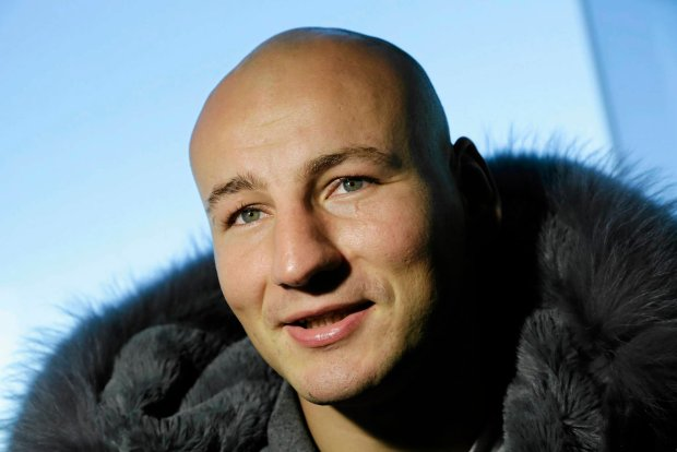 Polish boxer Artur Szpilka talks to the media, Wednesday, Jan. 13, 2016, in New York. He faces undefeated WBC Heavyweight World Champion Deontay Wilder, Saturday, Jan. 16, 2016, in New York. (AP Photo/Mark Lennihan)